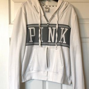 Victoria's Secret Pink zip up hoodie Large white